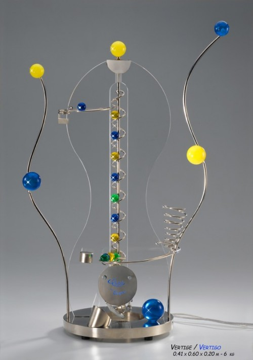 Vertigo, kinetic art, kinetic sculpture, rollingball sculpture